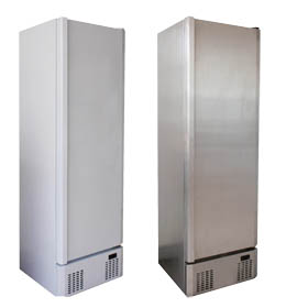 Scanfrost Upright Service Cabinets - White and Stainless Steel